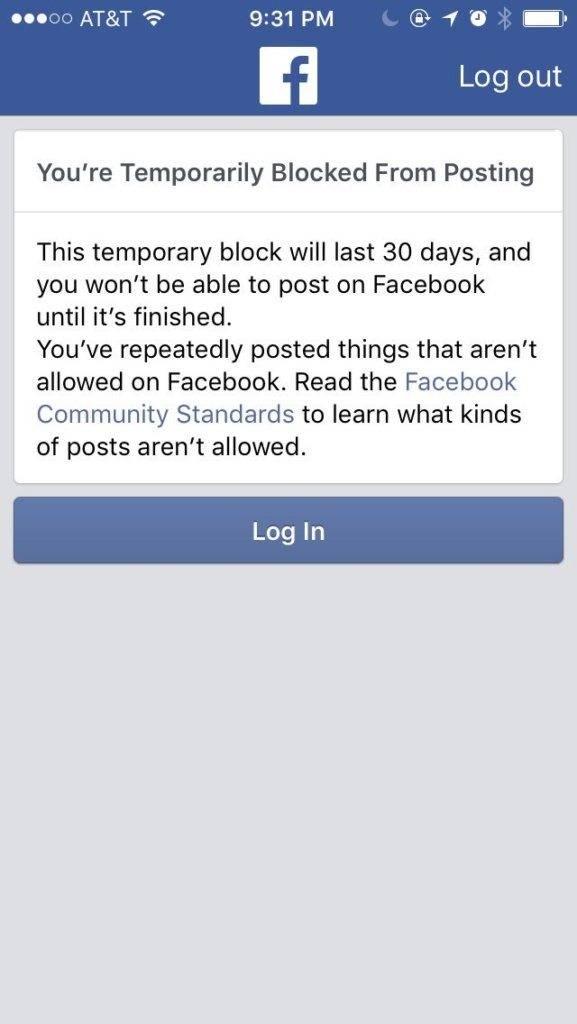 network marketers Facebook profiles being shut down